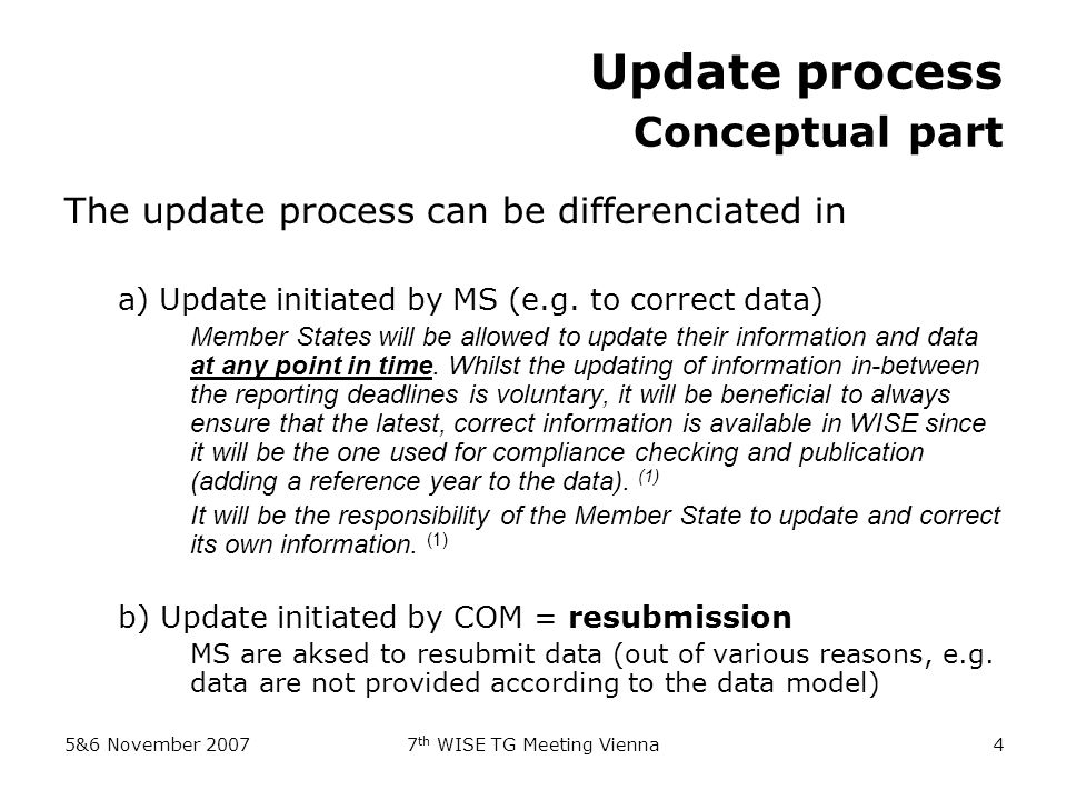 5&6 November 20077 th WISE TG Meeting Vienna4 Update process Conceptual part The update process can be differenciated in a) Update initiated by MS (e.