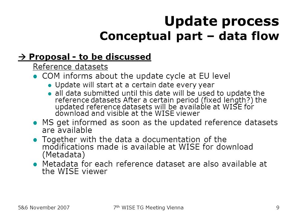 5&6 November 20077 th WISE TG Meeting Vienna9 Update process Conceptual part – data flow Proposal - to be discussed Reference datasets COM informs about the update cycle at EU level Update will start at a certain date every year all data submitted until this date will be used to update the reference datasets After a certain period (fixed length ) the updated reference datasets will be available at WISE for download and visible at the WISE viewer MS get informed as soon as the updated reference datasets are available Together with the data a documentation of the modifications made is available at WISE for download (Metadata) Metadata for each reference dataset are also available at the WISE viewer