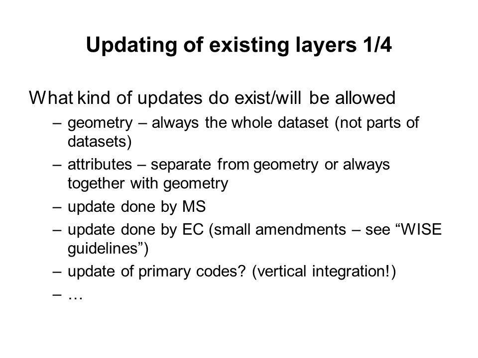 Updating of existing layers 1/4 What kind of updates do exist/will be allowed –geometry – always the whole dataset (not parts of datasets) –attributes – separate from geometry or always together with geometry –update done by MS –update done by EC (small amendments – see WISE guidelines) –update of primary codes.