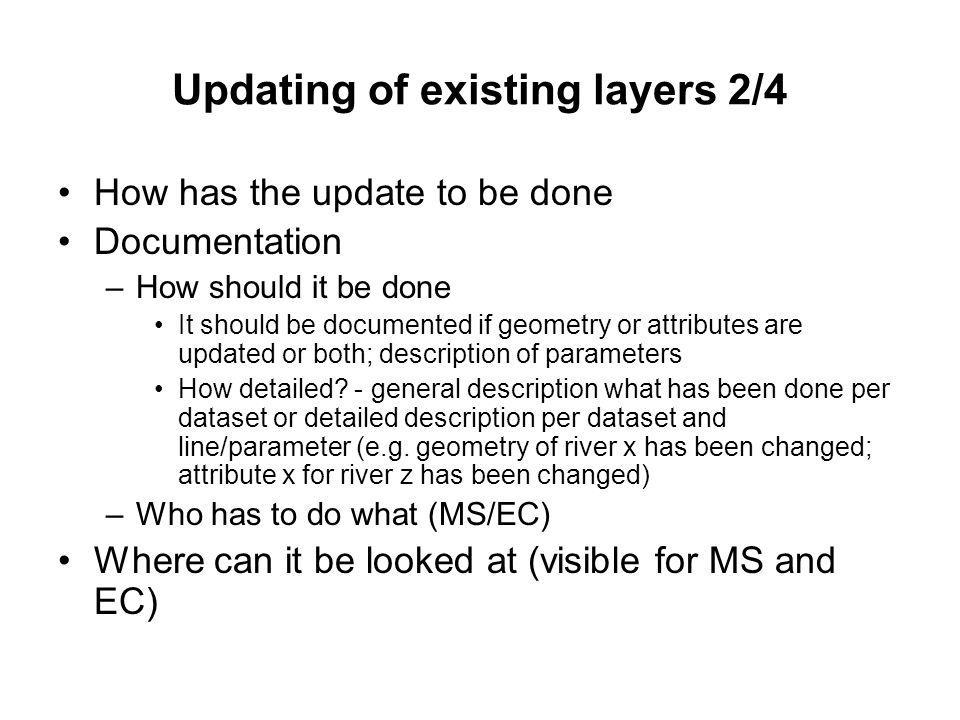 Updating of existing layers 2/4 How has the update to be done Documentation –How should it be done It should be documented if geometry or attributes are updated or both; description of parameters How detailed.