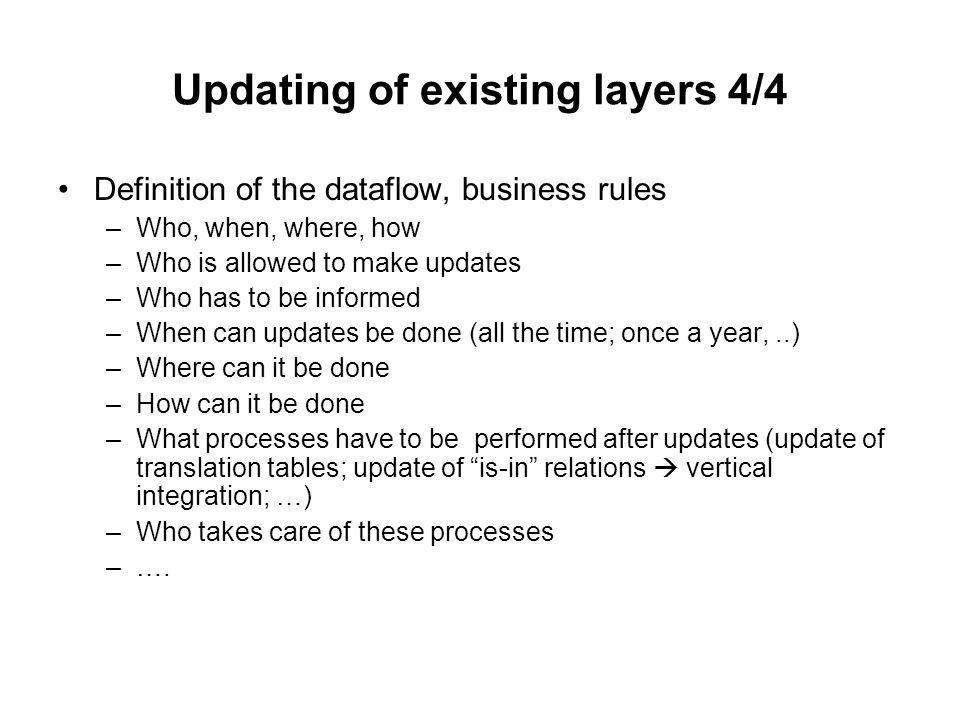 Updating of existing layers 4/4 Definition of the dataflow, business rules –Who, when, where, how –Who is allowed to make updates –Who has to be informed –When can updates be done (all the time; once a year,..) –Where can it be done –How can it be done –What processes have to be performed after updates (update of translation tables; update of is-in relations vertical integration; …) –Who takes care of these processes –….