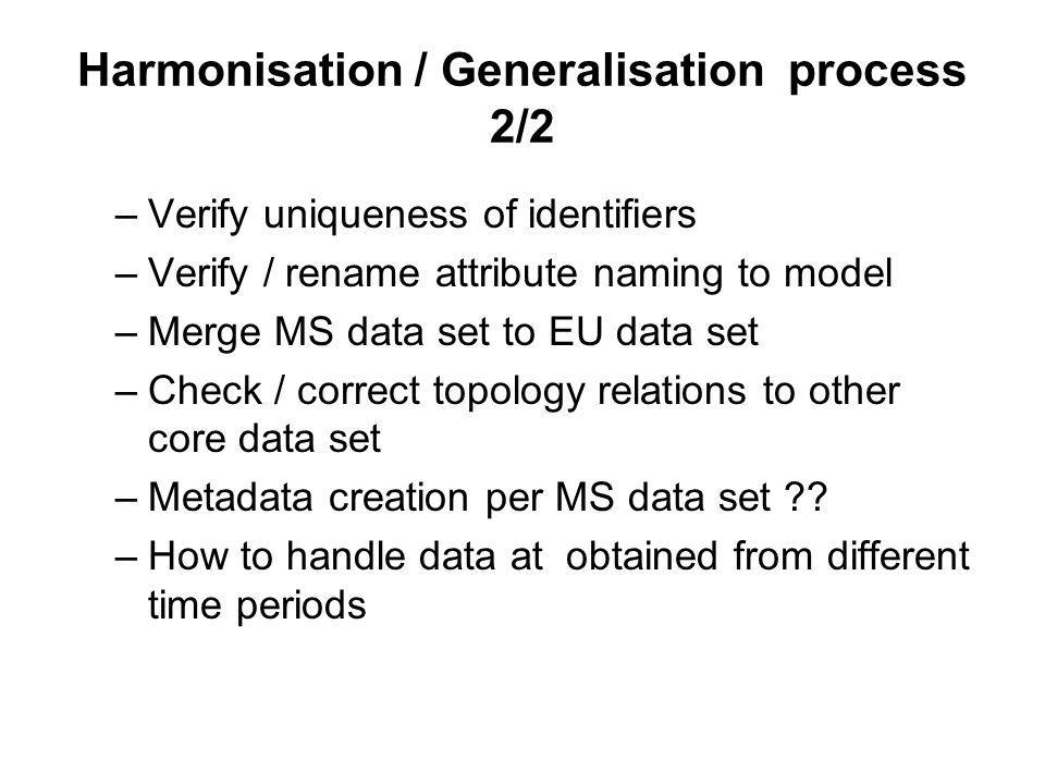 Harmonisation / Generalisation process 2/2 –Verify uniqueness of identifiers –Verify / rename attribute naming to model –Merge MS data set to EU data set –Check / correct topology relations to other core data set –Metadata creation per MS data set .