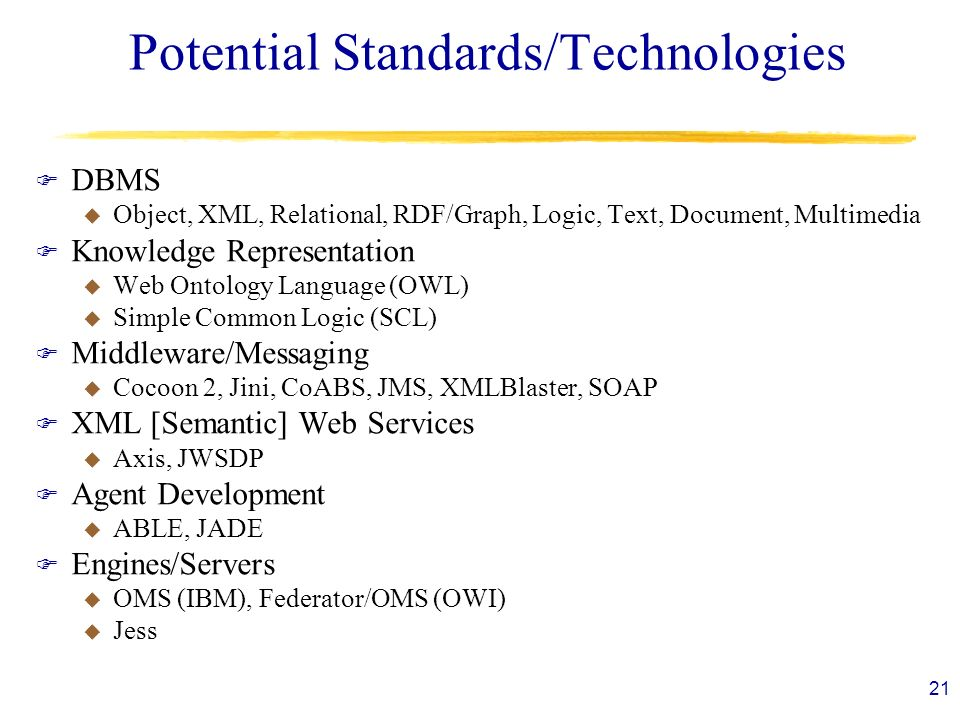 21 Potential Standards/Technologies F DBMS u Object, XML, Relational, RDF/Graph, Logic, Text, Document, Multimedia F Knowledge Representation u Web Ontology Language (OWL) u Simple Common Logic (SCL) F Middleware/Messaging u Cocoon 2, Jini, CoABS, JMS, XMLBlaster, SOAP F XML [Semantic] Web Services u Axis, JWSDP F Agent Development u ABLE, JADE F Engines/Servers u OMS (IBM), Federator/OMS (OWI) u Jess