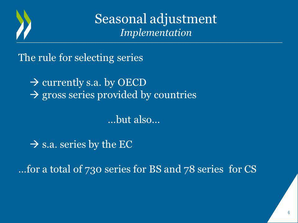 Seasonal adjustment Implementation The rule for selecting series currently s.a. by OECD gross series provided by countries …but also… s.a. series by t