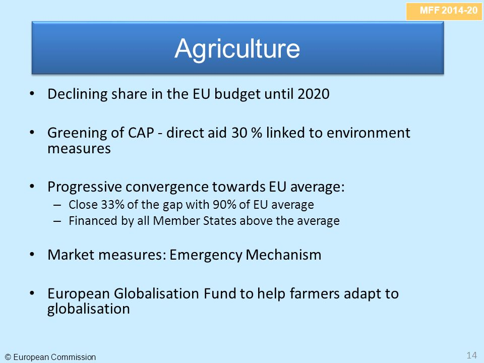 MFF © European Commission 14 Declining share in the EU budget until 2020 Greening of CAP - direct aid 30 % linked to environment measures Progressive convergence towards EU average: – Close 33% of the gap with 90% of EU average – Financed by all Member States above the average Market measures: Emergency Mechanism European Globalisation Fund to help farmers adapt to globalisation Agriculture