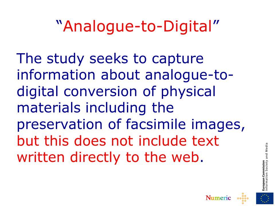 NumericNumeric Robotics – Investigate possibilities Consult The European Digital Library –persistent identifiers Other projects e.g.