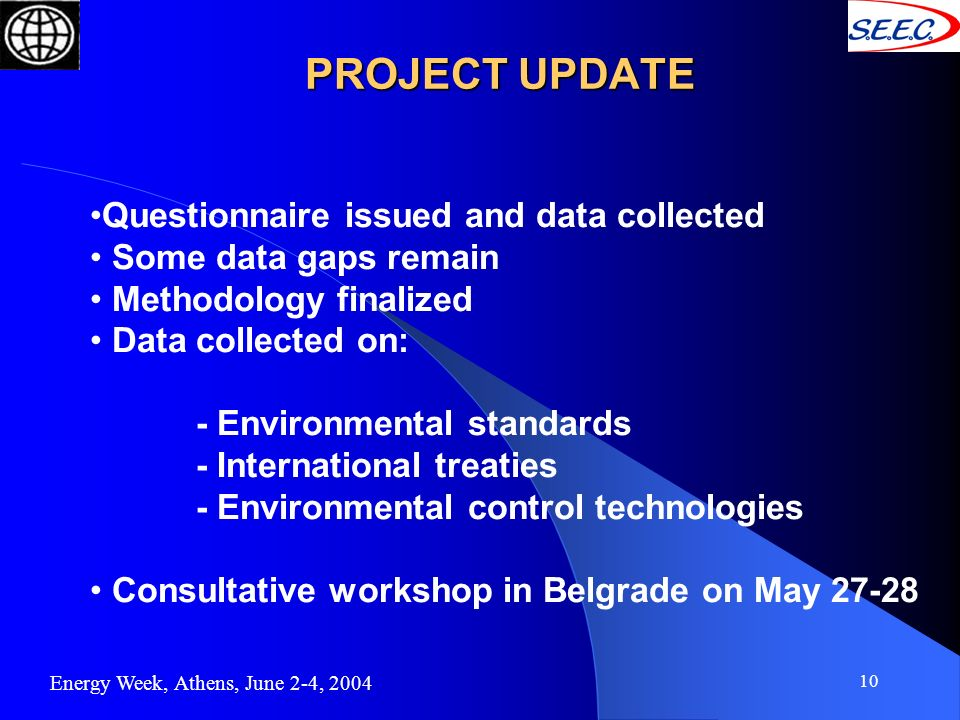 10 PROJECT UPDATE Energy Week, Athens, June 2-4, 2004 Questionnaire issued and data collected Some data gaps remain Methodology finalized Data collect