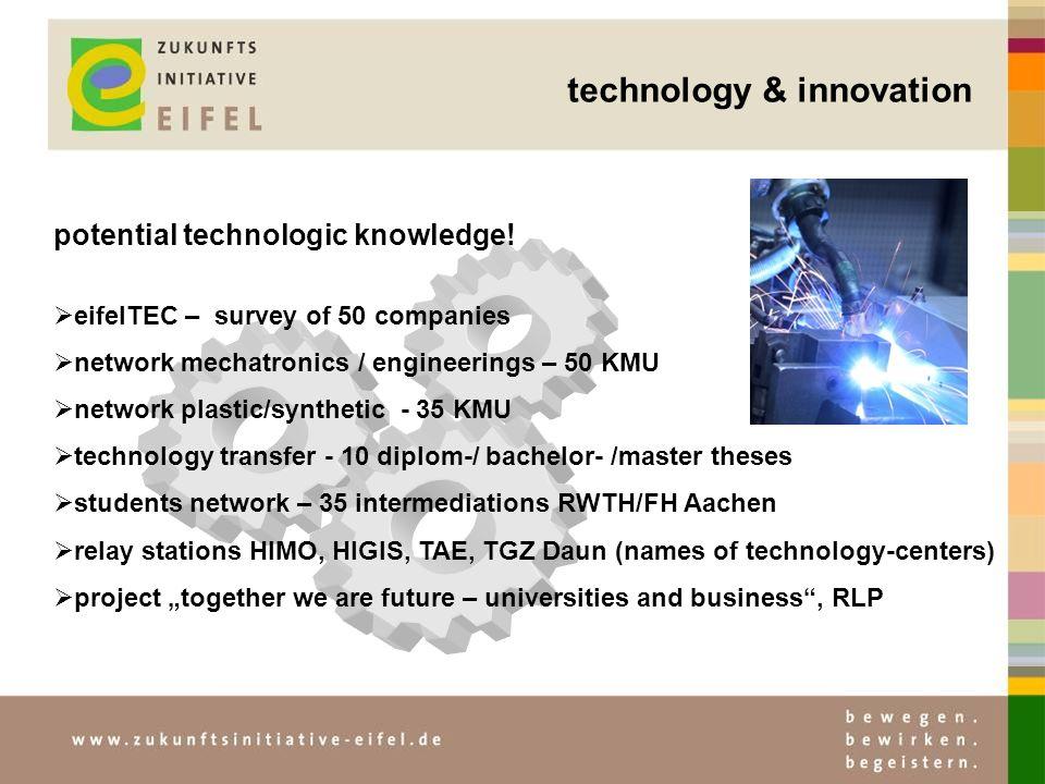 technology & innovation potential technologic knowledge! eifelTEC – survey of 50 companies network mechatronics / engineerings – 50 KMU network plasti