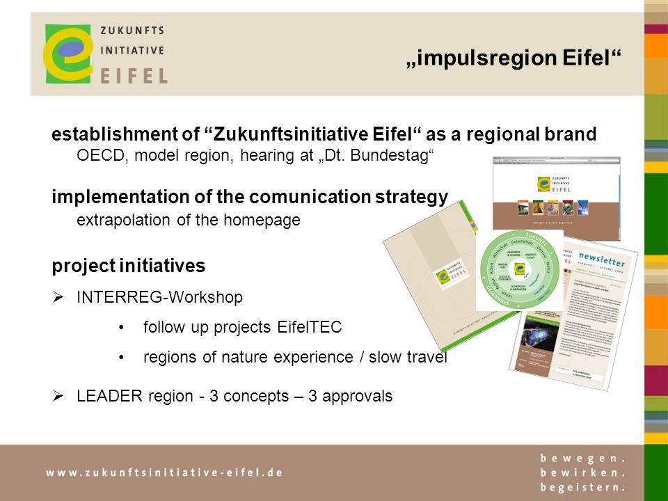 impulsregion Eifel establishment of Zukunftsinitiative Eifel as a regional brand OECD, model region, hearing at Dt.