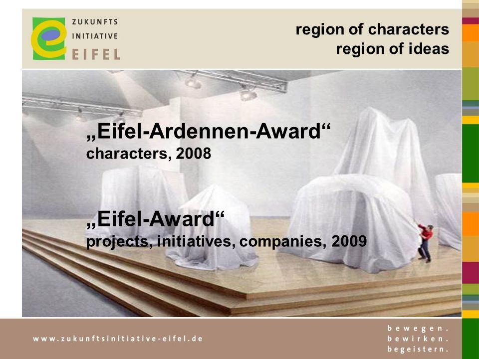 region of characters region of ideas Eifel-Ardennen-Award characters, 2008 Eifel-Award projects, initiatives, companies, 2009