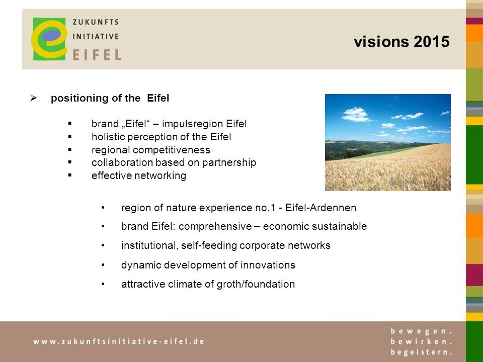 visions 2015 positioning of the Eifel brand Eifel – impulsregion Eifel holistic perception of the Eifel regional competitiveness collaboration based on partnership effective networking region of nature experience no.1 - Eifel-Ardennen brand Eifel: comprehensive – economic sustainable institutional, self-feeding corporate networks dynamic development of innovations attractive climate of groth/foundation