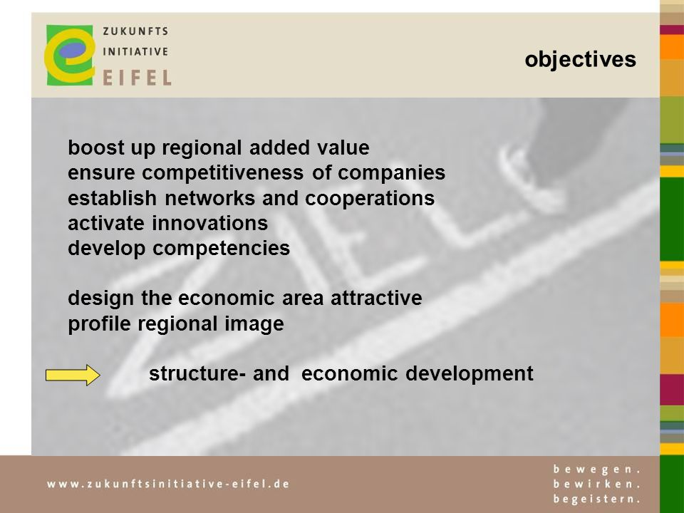 objectives boost up regional added value ensure competitiveness of companies establish networks and cooperations activate innovations develop competencies design the economic area attractive profile regional image structure- and economic development