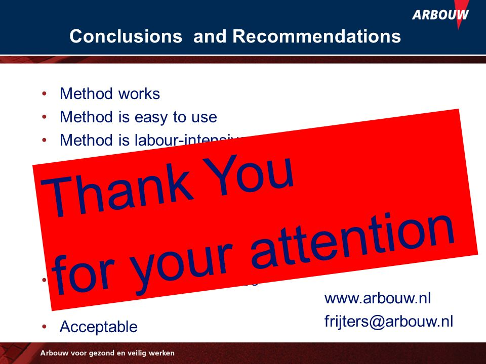 Conclusions and Recommendations Method works Method is easy to use Method is labour-intensive Database Use in case of doubt Fulfil safety in design ph