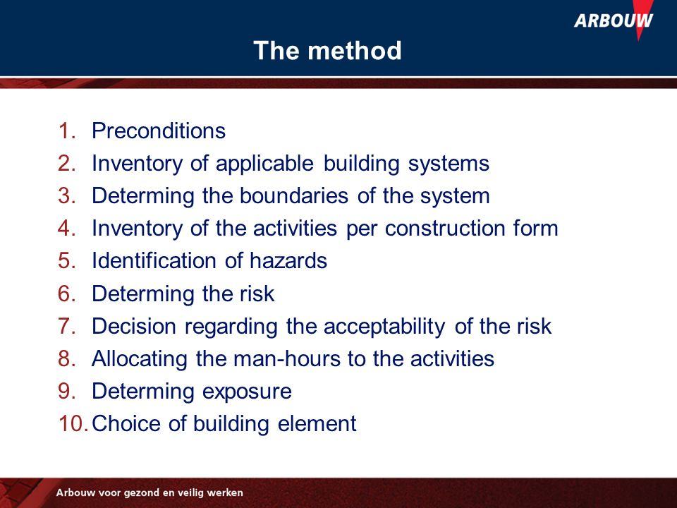 The method 1.Preconditions 2.Inventory of applicable building systems 3.Determing the boundaries of the system 4.Inventory of the activities per const