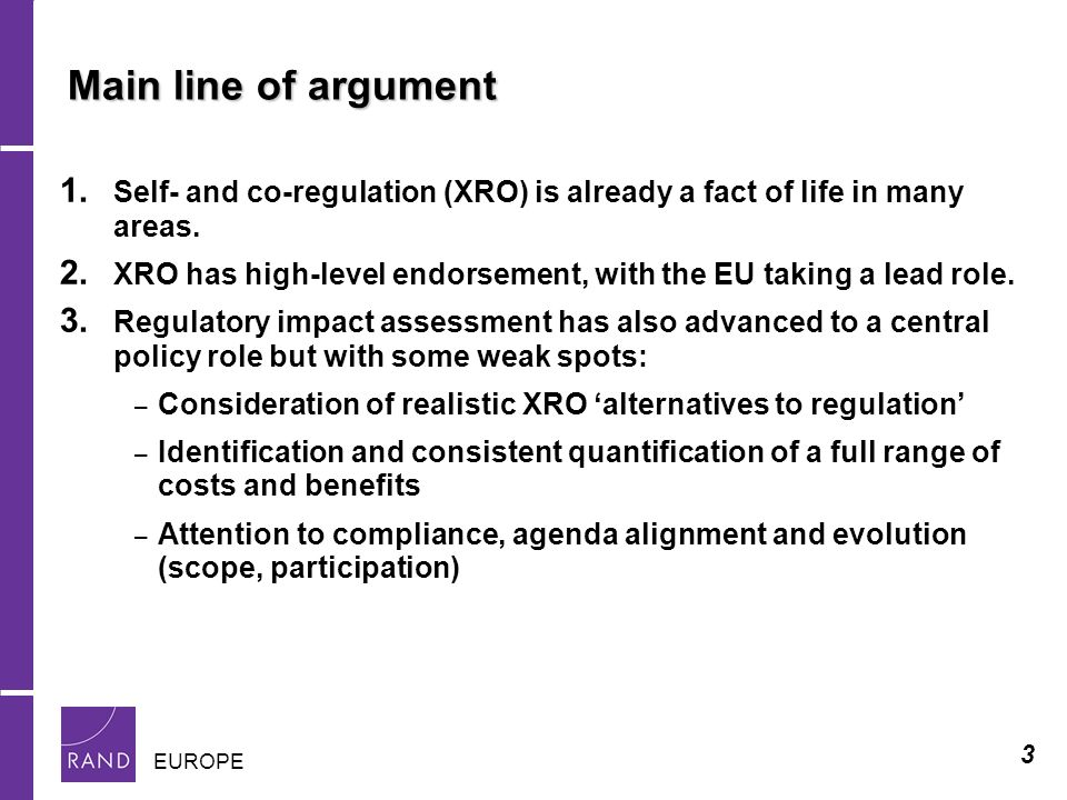 3 EUROPE Main line of argument 1.