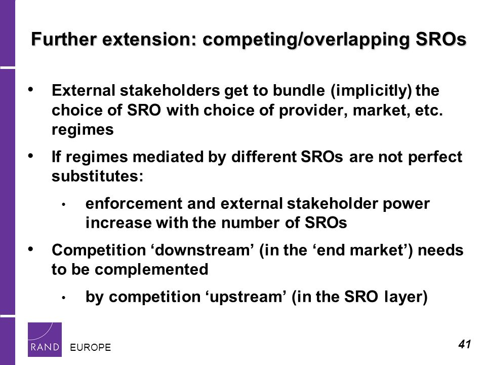 41 EUROPE Further extension: competing/overlapping SROs External stakeholders get to bundle (implicitly) the choice of SRO with choice of provider, market, etc.
