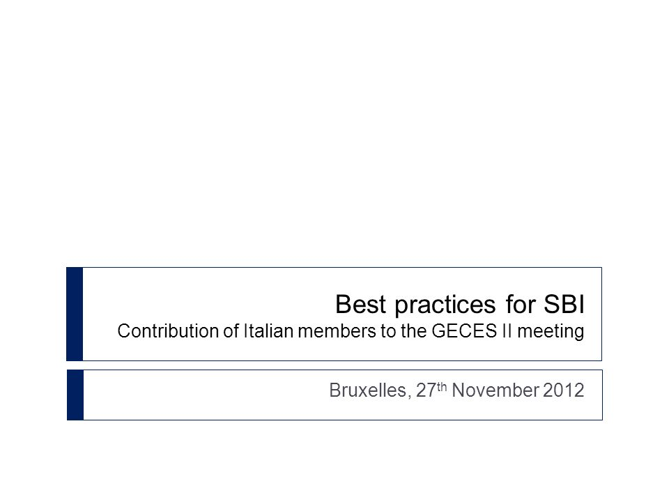 Best practices for SBI Contribution of Italian members to the GECES II meeting Bruxelles, 27 th November 2012