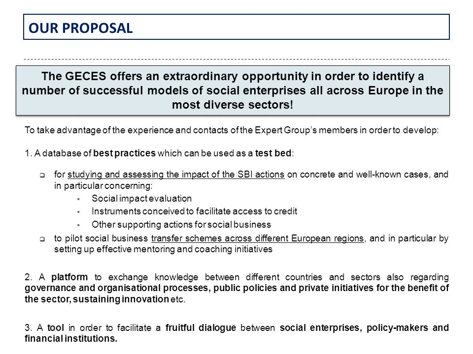 OUR PROPOSAL To take advantage of the experience and contacts of the Expert Groups members in order to develop: 1. A database of best practices which