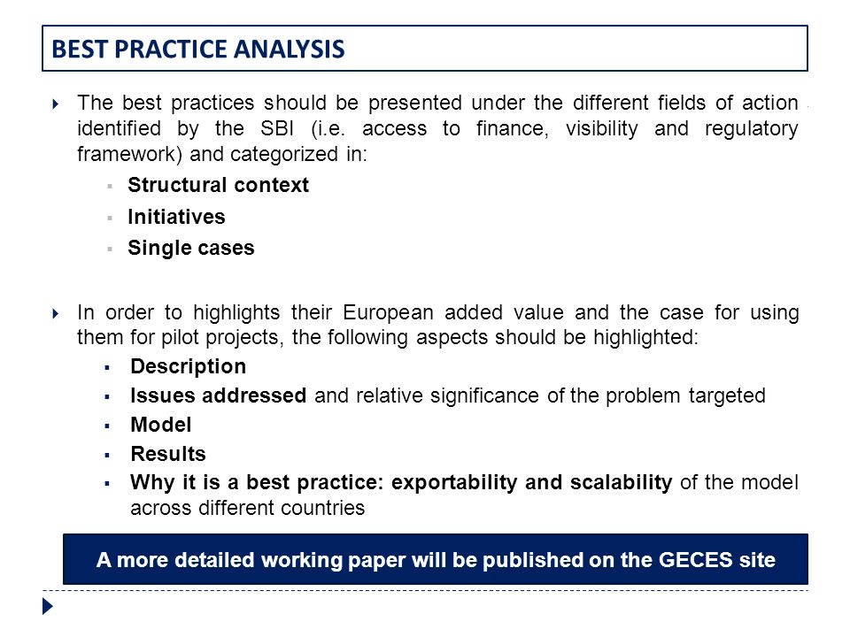 BEST PRACTICE ANALYSIS The best practices should be presented under the different fields of action identified by the SBI (i.e. access to finance, visi