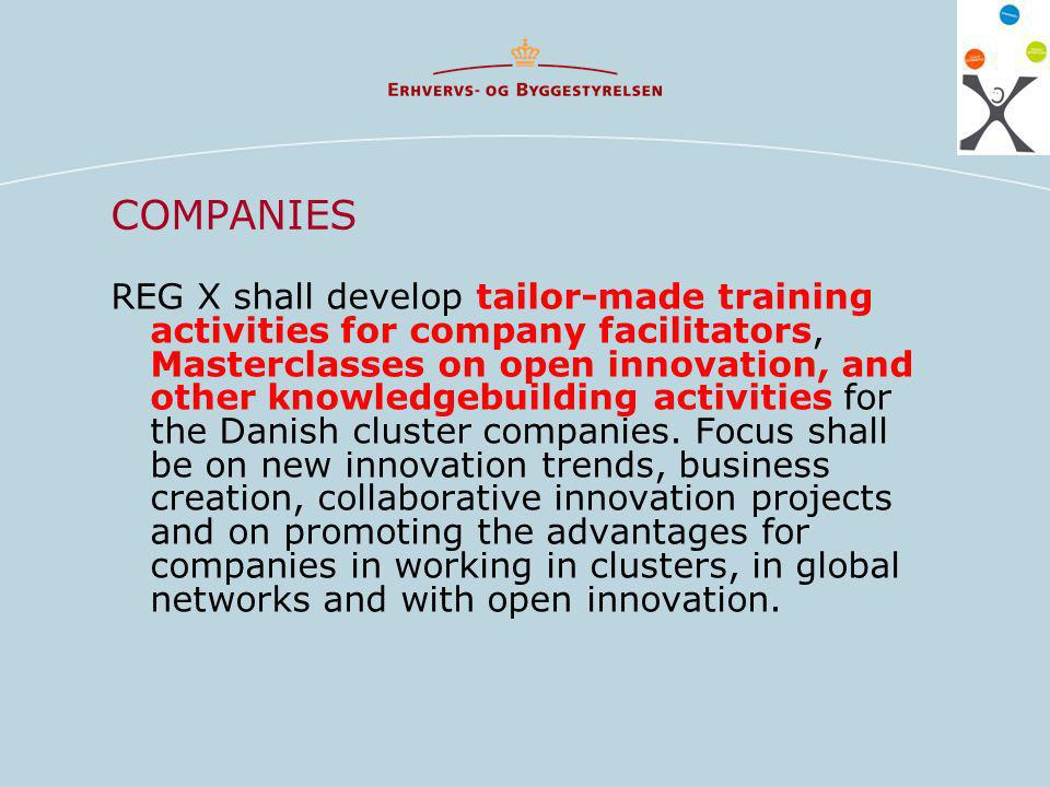 COMPANIES REG X shall develop tailor-made training activities for company facilitators, Masterclasses on open innovation, and other knowledgebuilding