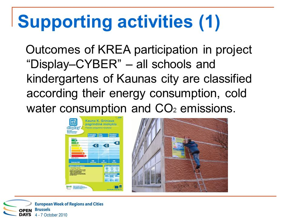 Supporting activities (1) Outcomes of KREA participation in project Display–CYBER – all schools and kindergartens of Kaunas city are classified according their energy consumption, cold water consumption and CO 2 emissions.