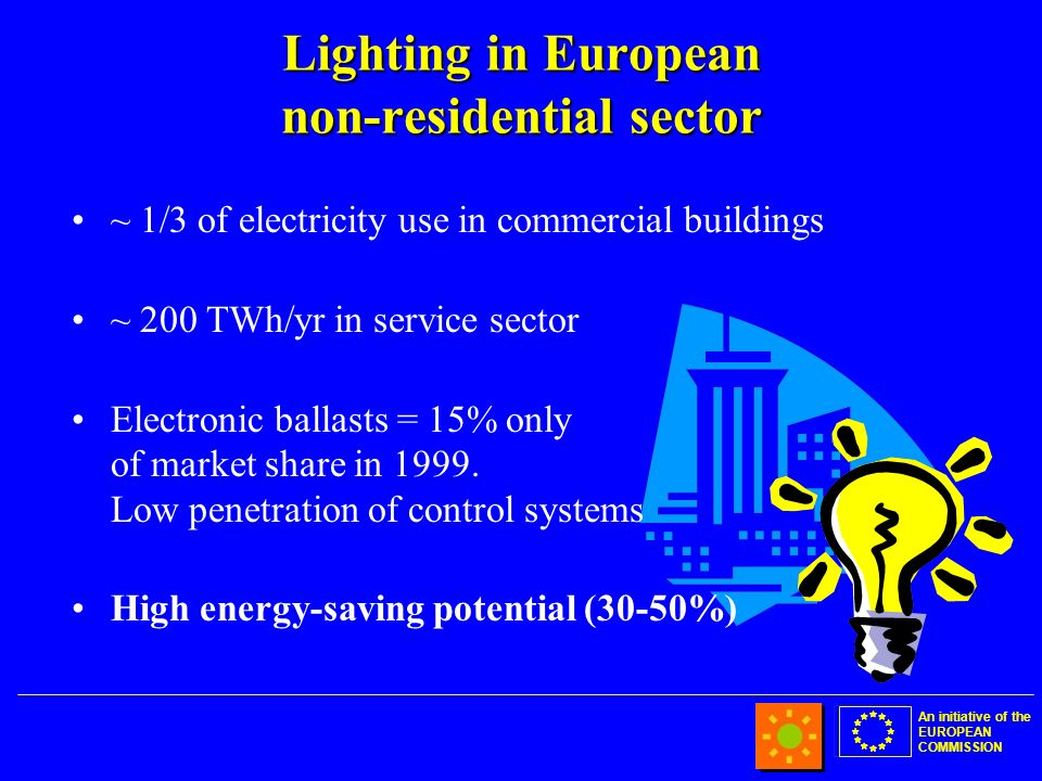 An initiative of the EUROPEAN COMMISSION Lighting in European non-residential sector ~ 1/3 of electricity use in commercial buildings ~ 200 TWh/yr in service sector Electronic ballasts = 15% only of market share in 1999.