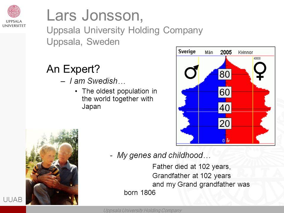 UUAB Uppsala University Holding Company Lars Jonsson, Uppsala University Holding Company Uppsala, Sweden An Expert.