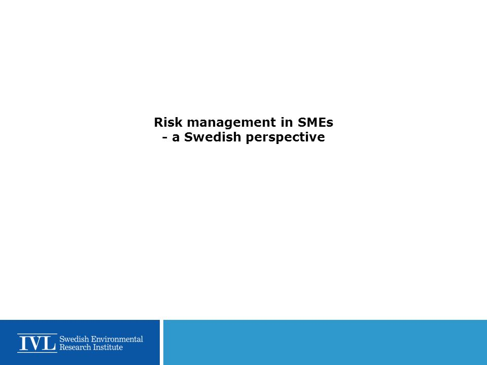 Risk management in SMEs - a Swedish perspective