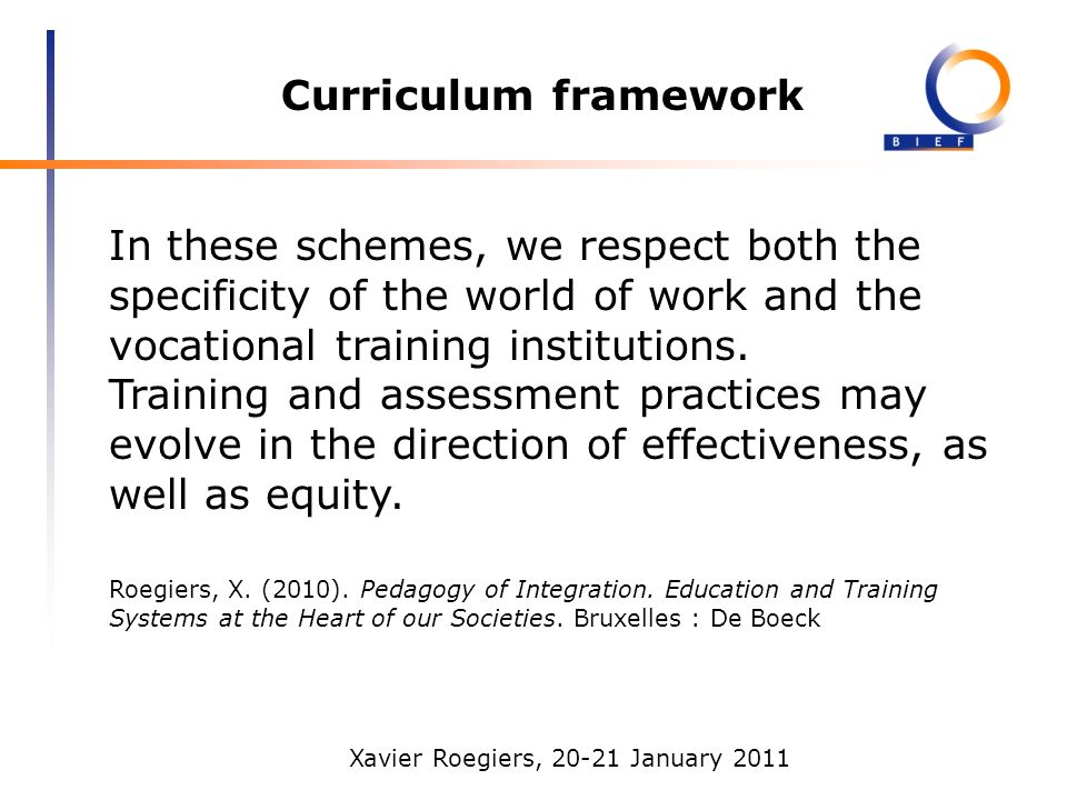 Xavier Roegiers, 20-21 January 2011 Curriculum framework In these schemes, we respect both the specificity of the world of work and the vocational training institutions.