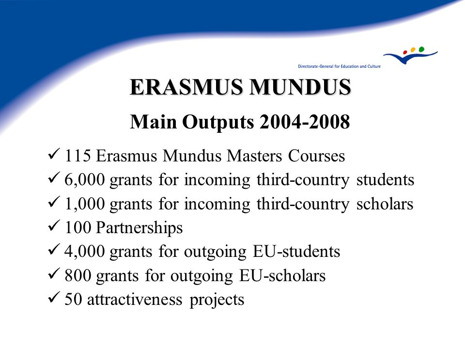 ERASMUS MUNDUS Main Outputs Erasmus Mundus Masters Courses 6,000 grants for incoming third-country students 1,000 grants for incoming third-country scholars 100 Partnerships 4,000 grants for outgoing EU-students 800 grants for outgoing EU-scholars 50 attractiveness projects