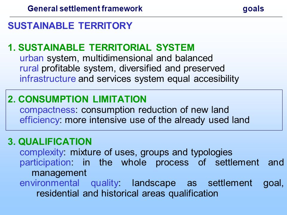 LIMITING THE LAND CONSUMPTION 1.