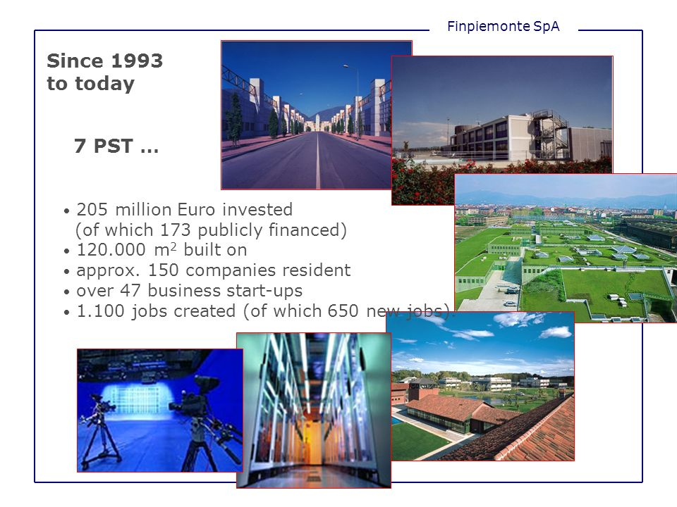 Finpiemonte SpA Since 1993 to today 7 PST … 205 million Euro invested (of which 173 publicly financed) 120.000 m 2 built on approx.