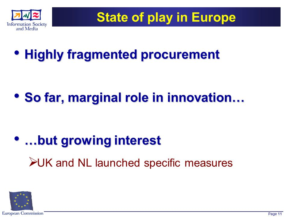 Page 11 State of play in Europe Highly fragmented procurement Highly fragmented procurement So far, marginal role in innovation… So far, marginal role