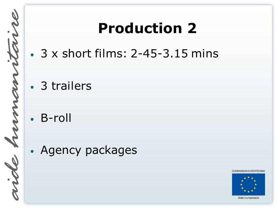 Production 2 3 x short films: 2-45-3.15 mins 3 trailers B-roll Agency packages