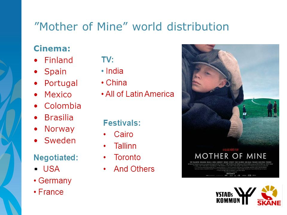 Mother of Mine world distribution Cinema: Finland Spain Portugal Mexico Colombia Brasilia Norway Sweden TV: India China All of Latin America Festivals