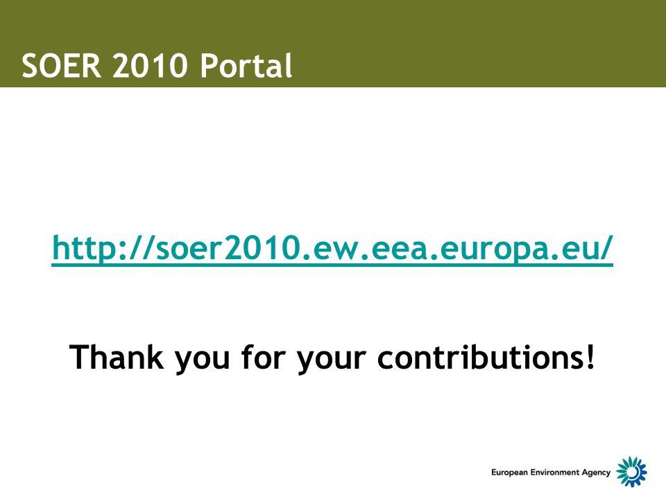 SOER 2010 Portal http://soer2010.ew.eea.europa.eu/ Thank you for your contributions!