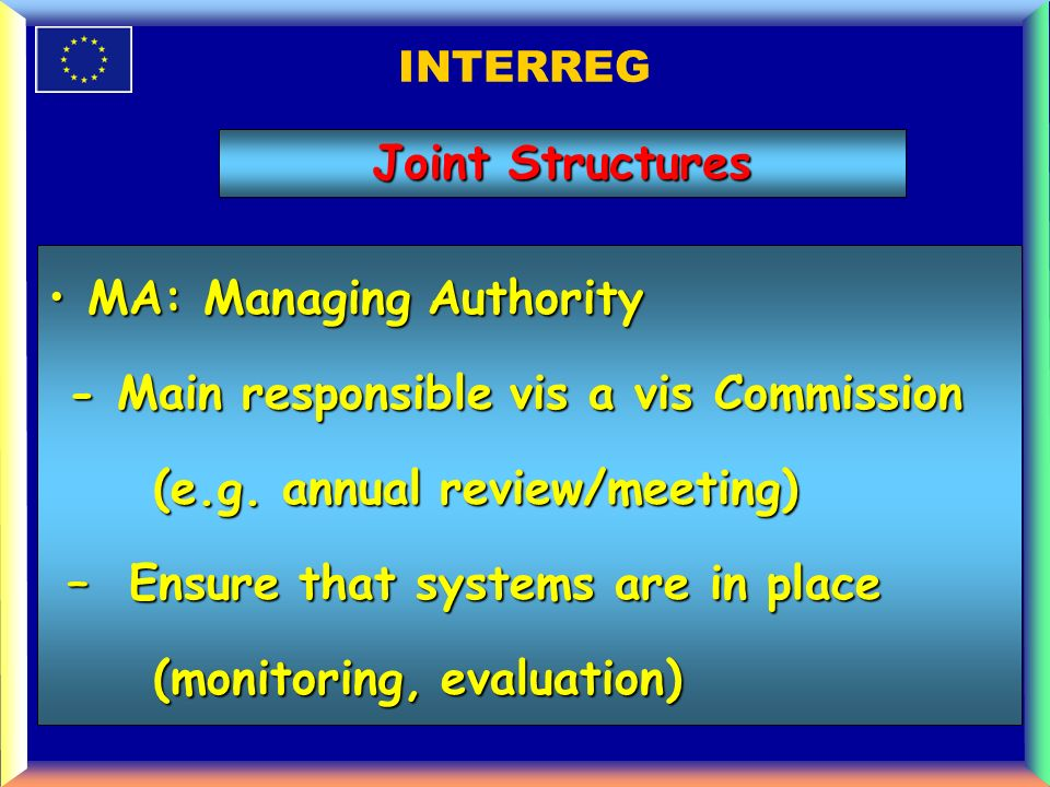 INTERREG MA: Managing AuthorityMA: Managing Authority - Main responsible vis a vis Commission - Main responsible vis a vis Commission (e.g.