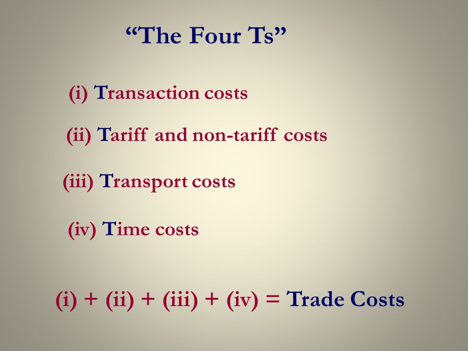 The Four Ts (i) Transaction costs (ii) Tariff and non-tariff costs (iii) Transport costs (iv) Time costs (i) + (ii) + (iii) + (iv) = Trade Costs