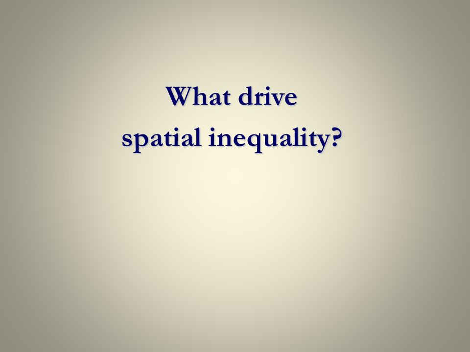 What drive spatial inequality
