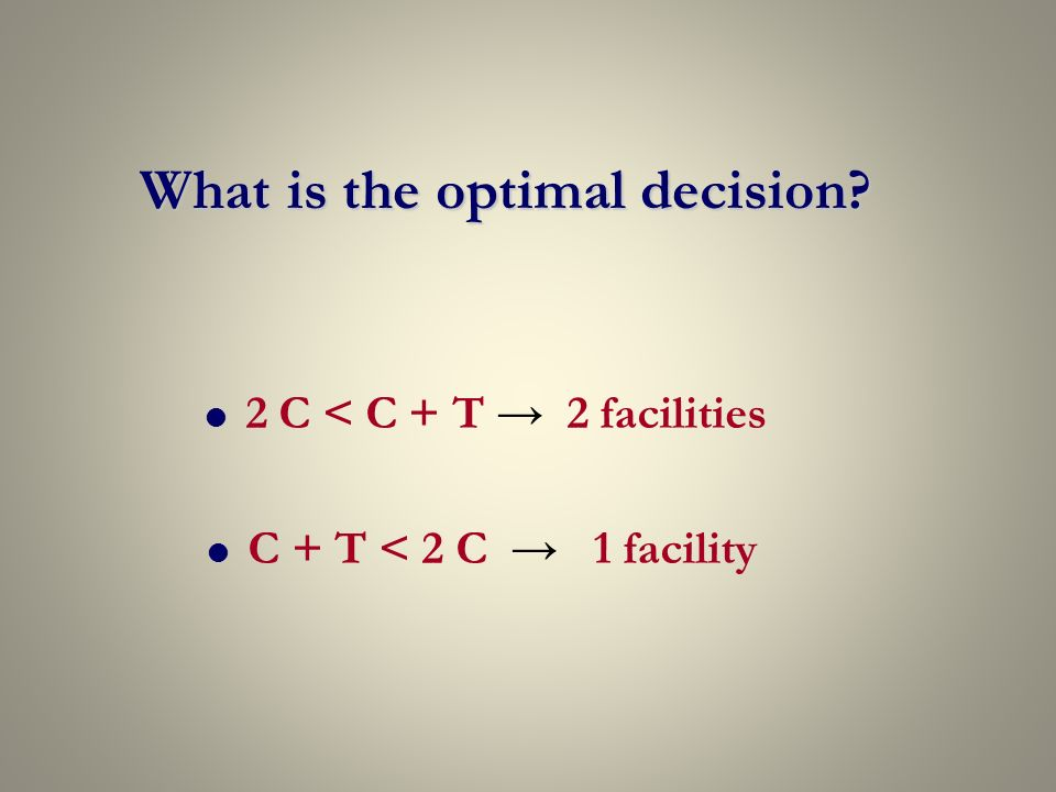 2 C < C + T 2 facilities C + T < 2 C 1 facility What is the optimal decision?