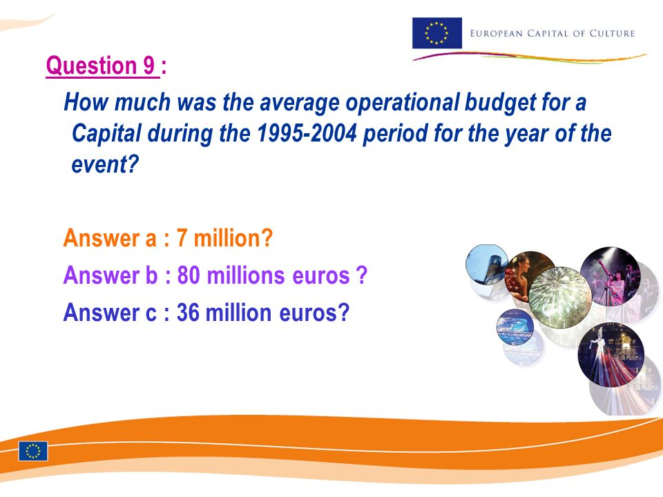 Question 9 : How much was the average operational budget for a Capital during the 1995-2004 period for the year of the event? Answer a : 7 million? An