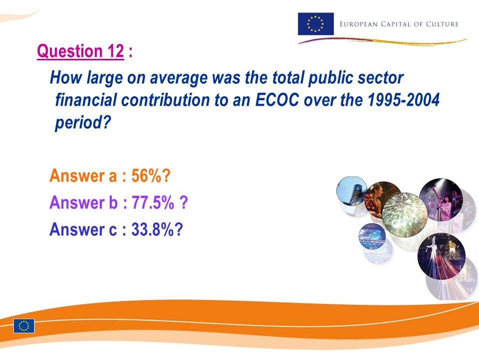 Question 12 : How large on average was the total public sector financial contribution to an ECOC over the 1995-2004 period.