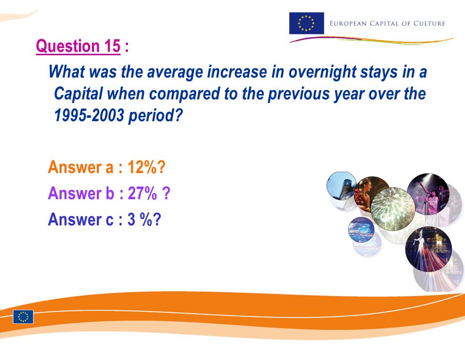 Question 15 : What was the average increase in overnight stays in a Capital when compared to the previous year over the 1995-2003 period.