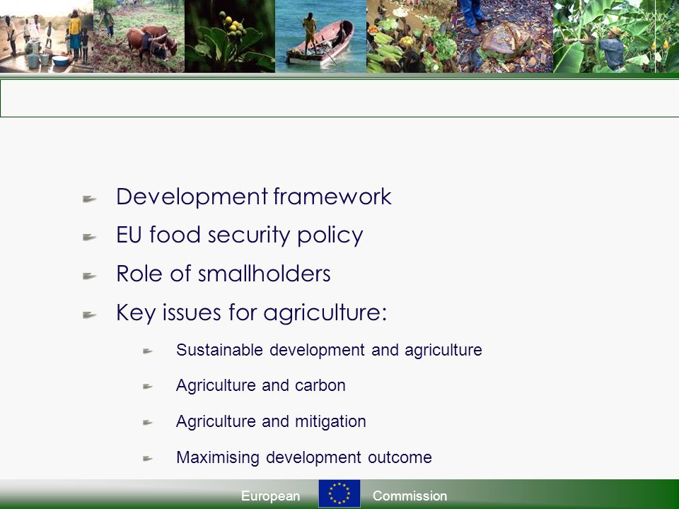 EuropeanCommission Development framework EU food security policy Role of smallholders Key issues for agriculture: Sustainable development and agriculture Agriculture and carbon Agriculture and mitigation Maximising development outcome