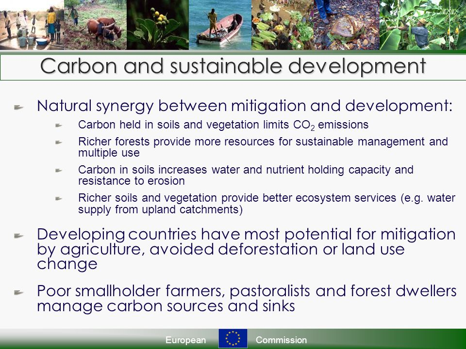 EuropeanCommission Carbon and sustainable development Natural synergy between mitigation and development: Carbon held in soils and vegetation limits CO 2 emissions Richer forests provide more resources for sustainable management and multiple use Carbon in soils increases water and nutrient holding capacity and resistance to erosion Richer soils and vegetation provide better ecosystem services (e.g.