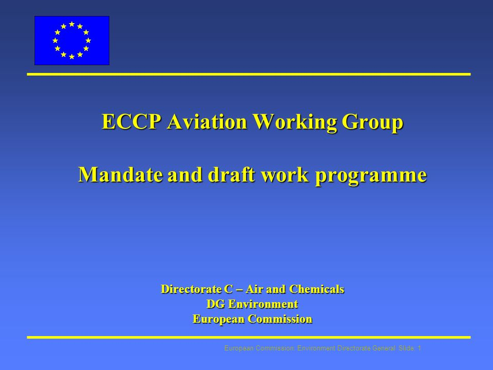 European Commission: Environment Directorate General Slide: 1 ECCP Aviation Working Group Mandate and draft work programme Directorate C – Air and Chemicals DG Environment European Commission