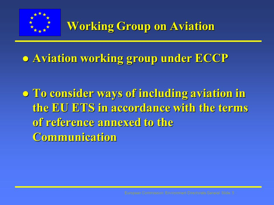 European Commission: Environment Directorate General Slide: 6 Working Group: mandate l Coverage of the climate impact of aviation l Scope of emissions covered l Approach used for calculating and apportioning the overall emissions limitation for the aviation sector l Compliance l Administration