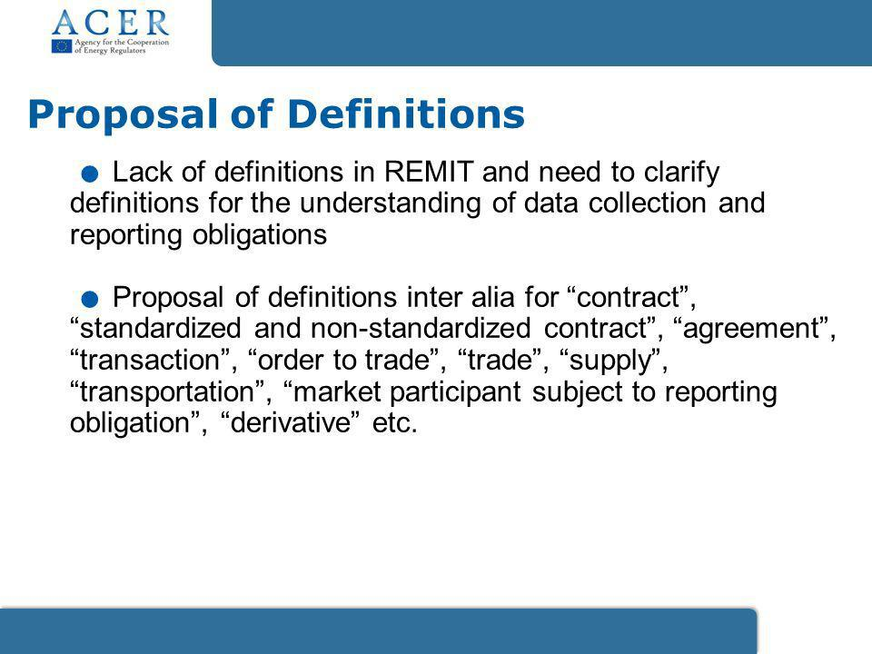 Lack of definitions in REMIT and need to clarify definitions for the understanding of data collection and reporting obligations.
