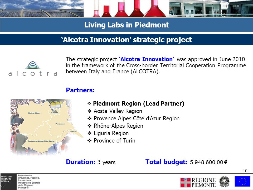 10 The strategic project Alcotra Innovation was approved in June 2010 in the framework of the Cross-border Territorial Cooperation Programme between Italy and France (ALCOTRA).