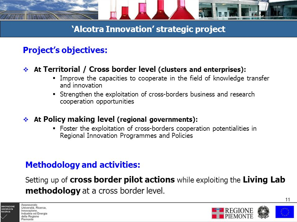 11 Projects objectives: At Territorial / Cross border level (clusters and enterprises): Improve the capacities to cooperate in the field of knowledge transfer and innovation Strengthen the exploitation of cross-borders business and research cooperation opportunities At Policy making level (regional governments): Foster the exploitation of cross-borders cooperation potentialities in Regional Innovation Programmes and Policies Alcotra Innovation strategic project Methodology and activities: Setting up of cross border pilot actions while exploiting the Living Lab methodology at a cross border level.